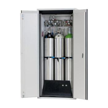 Abbildung zeigt Druckgasflaschenschrank G90 für 3 x 50 l Flaschen. Armaturen und Gasflaschen nicht im Lieferumfang enthalten