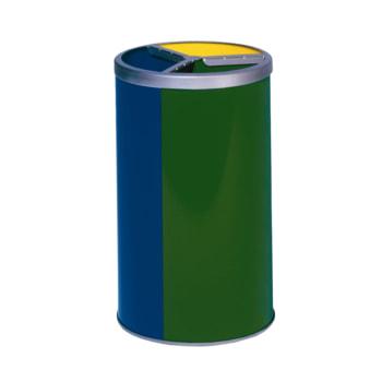 Wertstoffstation in gelb, blau und grün