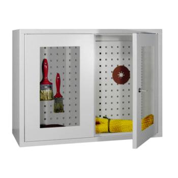 Beispielabbildung Hängeschrank mit gelochter Rückwand in lichtgrau (RAL 5035), 2 Sichtfenstertüren, 800 mm breit