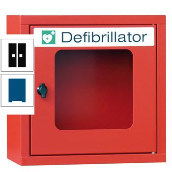 Beispielabbildung des Defibrillatorenschrankes in Feuerrot (RAL 3000)