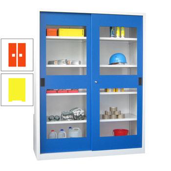 Beispielabbildung: Schiebetürenschrank mit Sichtfenstertüren, Korpus in Reinweiß (RAL 9010) und Front in enzianblau (RAL 5010), Fachböden gepulvert