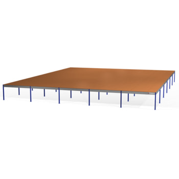 Lagerbühne - 2.500 x 25.000 x 30.000 mm (HxBxT) - 500 kg/qm - mit Böden - Graphitgrau (RAL 7024)