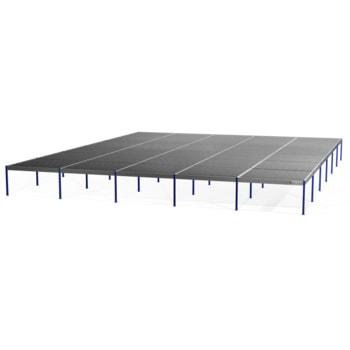 Lagerbühne - 3.000 x 25.000 x 30.000 mm (HxBxT) - 250 kg/qm - ohne Böden - Graphitgrau (RAL 7024)