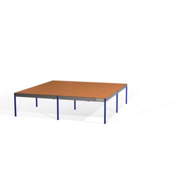 Lagerbühne - 2.100 x 10.000 x 10.000 mm (HxBxT) - 500 kg/qm - mit Böden - weißaluminium (RAL 9006)