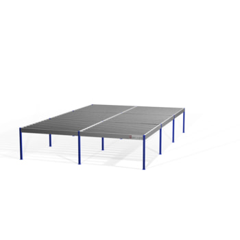 Lagerbühne - 2.100 x 10.000 x 15.000 mm (HxBxT) - 250 kg/qm - ohne Böden - weißaluminium (RAL 9006)