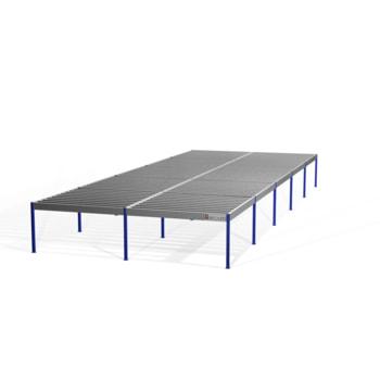 Lagerbühne - 2.100 x 10.000 x 25.000 mm (HxBxT) - 250 kg/qm - ohne Böden - resedagrün (RAL 6011)