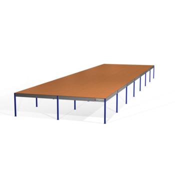 Lagerbühne - 2.100 x 10.000 x 35.000 mm (HxBxT) - 500 kg/qm - mit Böden - weißaluminium (RAL 9006)