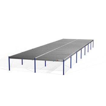 Lagerbühne - 2.100 x 10.000 x 35.000 mm (HxBxT) - 500 kg/qm - ohne Böden - resedagrün (RAL 6011)
