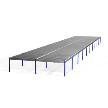 Lagerbühne - 2.100 x 10.000 x 50.000 mm (HxBxT) - 500 kg/qm - ohne Böden - resedagrün (RAL 6011)