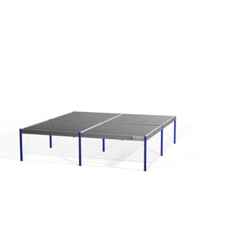 Lagerbühne - 2.300 x 10.000 x 10.000 mm (HxBxT) - 500 kg/qm - ohne Böden - weißaluminium (RAL 9006)