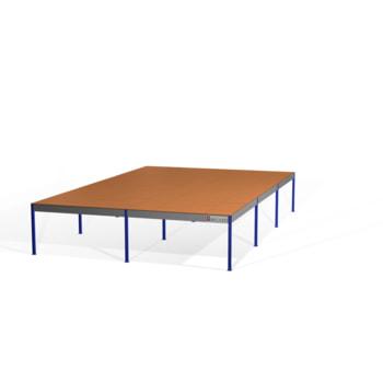Lagerbühne - 2.300 x 10.000 x 15.000 mm (HxBxT) - 500 kg/qm - mit Böden - enzianblau (RAL 5010)