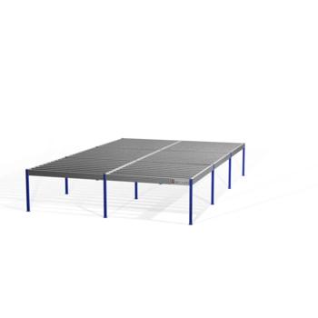 Lagerbühne - 2.300 x 10.000 x 15.000 mm (HxBxT) - 500 kg/qm - ohne Böden - resedagrün (RAL 6011)