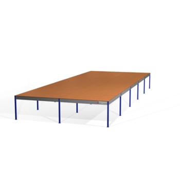 Lagerbühne - 2.300 x 10.000 x 25.000 mm (HxBxT) - 250 kg/qm - mit Böden - enzianblau (RAL 5010)