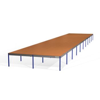 Lagerbühne - 2.300 x 10.000 x 50.000 mm (HxBxT) - 500 kg/qm - mit Böden - türkisblau (RAL 5018)