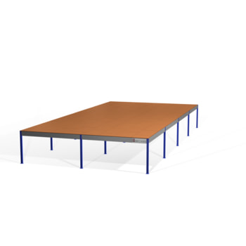 Lagerbühne - 2.500 x 10.000 x 20.000 mm (HxBxT) - 500 kg/qm - mit Böden - enzianblau (RAL 5010)