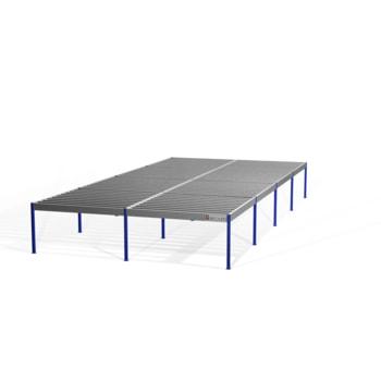 Lagerbühne - 2.500 x 10.000 x 20.000 mm (HxBxT) - 500 kg/qm - ohne Böden - resedagrün (RAL 6011)