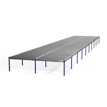 Lagerbühne - 2.500 x 10.000 x 50.000 mm (HxBxT) - 500 kg/qm - ohne Böden - weißaluminium (RAL 9006)
