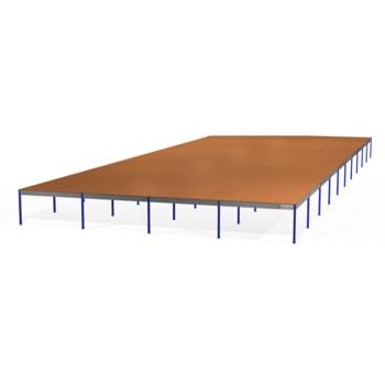 Lagerbühne - 2.500 x 20.000 x 50.000 mm (HxBxT) - 250 kg/qm - mit Böden - enzianblau (RAL 5010)