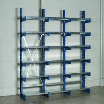 Beispiel einer Regalreihe mit einem Grundregal und zwei Anbauregalen