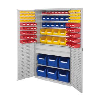Magazinschrank - 112 Sichtlagerkästen - Loch-/Schlitzplatten Türen - 2 Schubladen - 6 Böden - 1.950 x 1.130 x 590 mm (HxBxT) - lichtgrau