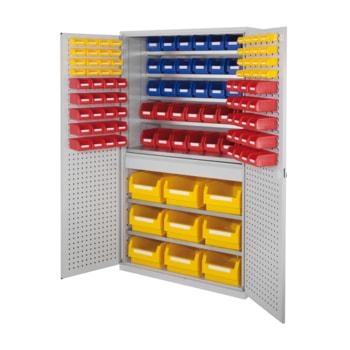 Magazinschrank - 116 Sichtlagerkästen - Loch-/Schlitzplatten Türen - 1 Schublade - 7 Böden - 1.950 x 1.130 x 590 mm (HxBxT) - lichtgrau