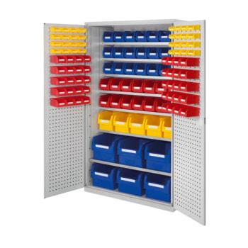 Magazinschrank - 118 Sichtlagerkästen - Loch-/Schlitzplatten Türen - 7 Böden - 1.950 x 1.130 x 590 mm (HxBxT) - lichtgrau