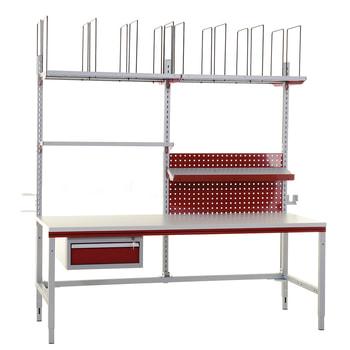 Packtisch mit Zubehör - Traglast 300 kg - manuell höhenverstellbar 690 - 960 mm - 2.000 x 800 mm (BxT)