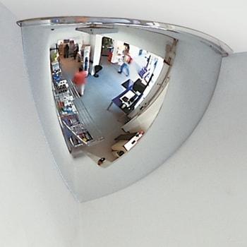 Abbildung zeigt Panoramaspiegel in der Größe 300 x 300 x 240 mm (HxBxT)