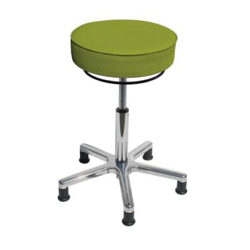 Drehhocker mit beweglicher Sitzfläche, smaragdgrün, mit Gleitern