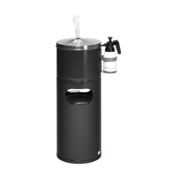 Desinfektionsstation - Hygienestation - Reinigungstation mit Papiertuchspender, Desinfektionsmittelhalter und Abfalleimer - schwarzgrau (RAL 7021)
