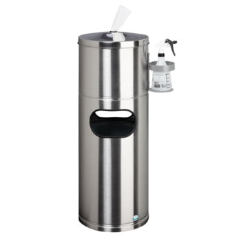 Desinfektionsstation - Hygienestation - Reinigungstation mit Papiertuchspender, Desinfektionsmittelhalter und Abfalleimer - Edelstahl