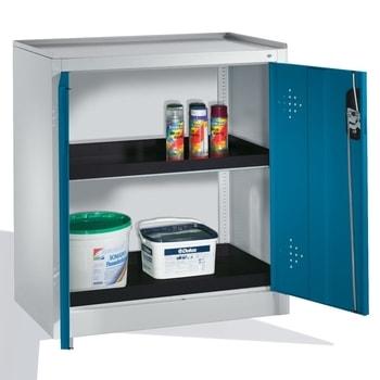 Abbildung zeigt Umweltschrank mit der Frontfarbe Lichtblau (RAL 5012) und abweichender Wannenfarbe - Inhalt nicht im Lieferumfang enthalten