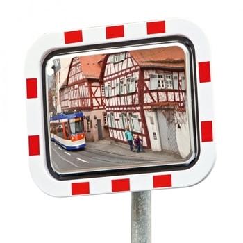 Verkehrsspiegel, Beobachtungsspiegel aus rostfreiem Edelstahl - rechteckig - rot/weiß - Montagefertig - 400 x 600 mm (HxB) - innen und außen