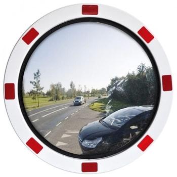 Verkehrsspiegel, Beobachtungsspiegel aus rostfreiem Edelstahl - rund - rot/weiß - Montagefertig - 600 mm Durchmesser - innen und außen