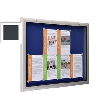 Beispielabbildung zeigt extra flachen Schaukasten im Querformat mit blauer Rückwand