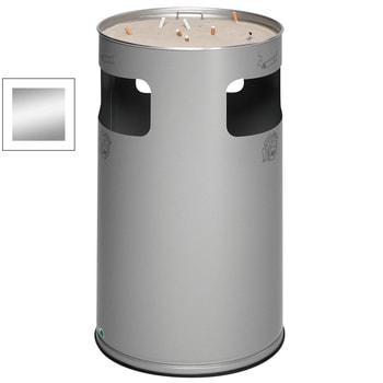 Stahlblech Abfallsammler mit Ascher, Volumen 69 l, Silber (Inneneinsatz nicht im Lieferumfang enthalten)