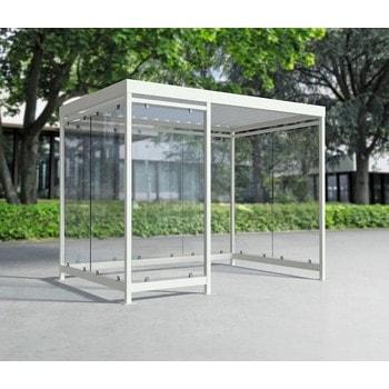 Raucherunterstand, Fahrgastunterstand, Bushaltestelle, Flachdach, für 6-7 Personen, verkehrsweiß, ESG, 2.510 x 3.180 x 2.165 mm (HxBxT), Typengeprüft