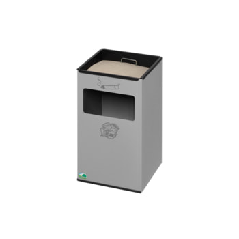 Wandascher mit Abfallsammler, Höhe 450 mm, Silber