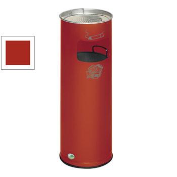 Stahlblech Abfallsammler mit Ascher, Volumen 17 l, Feuerrot (RAL 3000) (Inneneinsatz nicht im Lieferumfang enthalten)