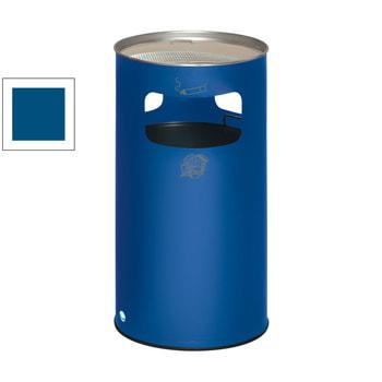Stahlblech Abfallsammler mit Ascher, Volumen 69 l, Enzianblau (RAL 5010) (Inneneinsatz nicht im Lieferumfang enthalten)
