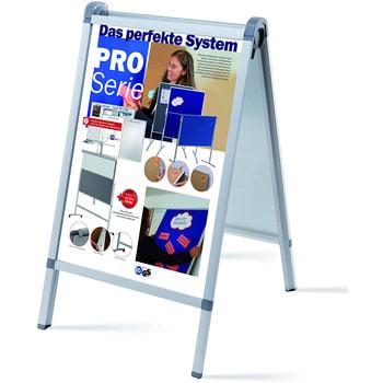 Wasserfester Kundenstopper, DIN A1, Werbetafel, beidseitiger Plakatständer, Aufsteller, klappbar, 1.100 x 652 x 760 mm (HxBxT), Aluminium