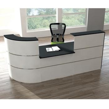 Moderne Empfangstheke mit vollwertigem Arbeitsplatz, für Kanzlei, Praxis, Büro, Thekenhöhe 1.100 mm, Arbeitsplatzhöhe 740 mm, Fläche 2.800 x 950 (BxT)