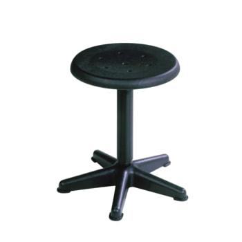 Beispielabbildung Arbeitshocker mit platzsparendem Fußkreuz, hier in der Ausführung mit Drehspindel und schwarzem Kunststoff-Sitz