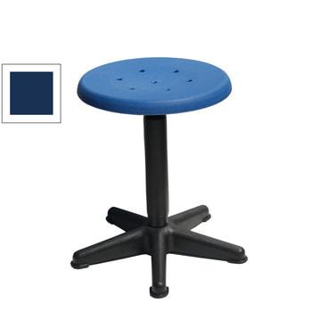 Arbeitshocker mit platzsparendem Fußkreuz, Drehspindel und blauem Kunststoff-Sitz