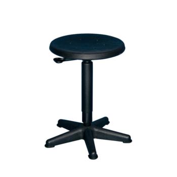Beispielabbildung Arbeitshocker mit platzsparendem Fußkreuz und schwarzem Kunststoff Sitz, hier in der Ausführung mit Hebelauslösung
