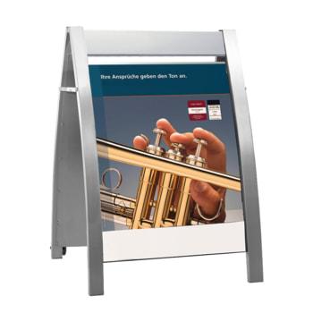 Eleganter Kundenstopper, DIN A1, Werbetafel, Plakatständer mit Rädern, Aufsteller, fahrbar, klappbar, Platz für Logo, 1.150 x 720 x 700 mm (HxBxT)