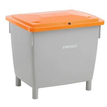 HDPE Universalbehälter für Streugut und andere Stoffe, robust und abschließbar, 400 l Volumen, 930 x 945 x 725 mm (HxBxT), grau/orange