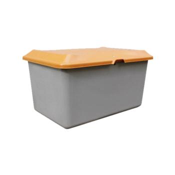 Streugutbehälter mit grauem Korpus und orangenem Deckel.