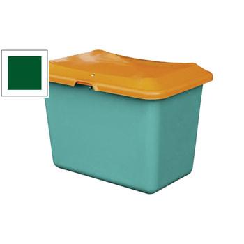 Streugutbehälter mit grünem Korpus und orangenem Deckel.