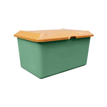 Streugutbehälter für Streusalz, Winterstreumittel, Futtermittel, 400 l Volumen, 670 x 1.210 x 820 mm (HxBxT), GFK, grün/orange